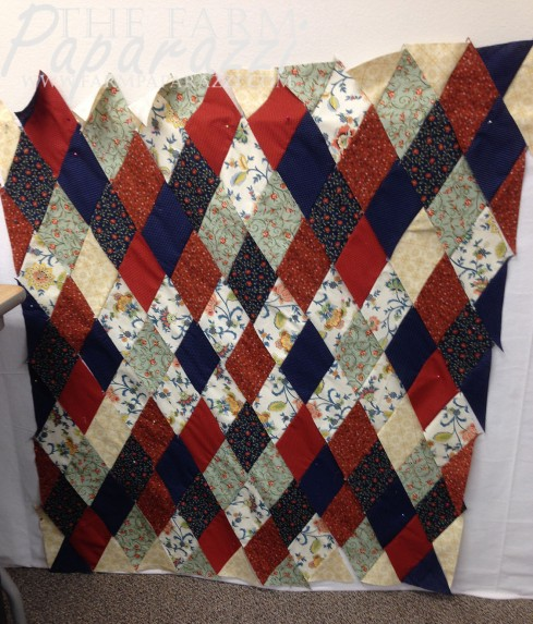 """Playing with Diamonds."" The quilt I started right after harvest during the 2014 Wheatwater Quilting Retreat."