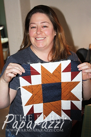 Leslie won the prize for first one with a block done. This is the Wyoming State Block.